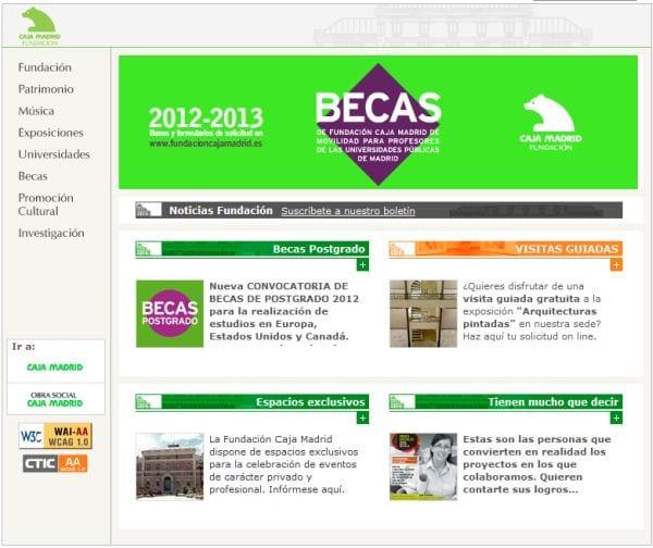 Portal de Becas de Fundación Caja Madrid