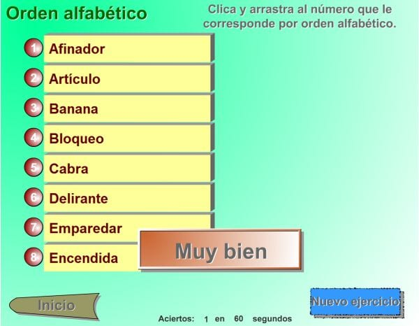 El juego del orden alfabético