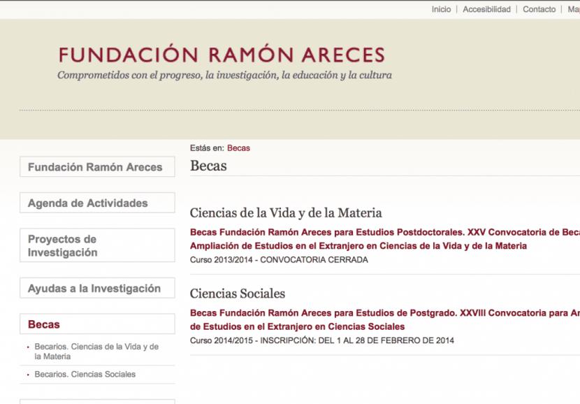 Becas Fundación Ramón Areces