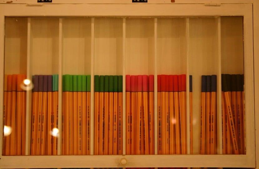 Marcadores de colores para estudiar
