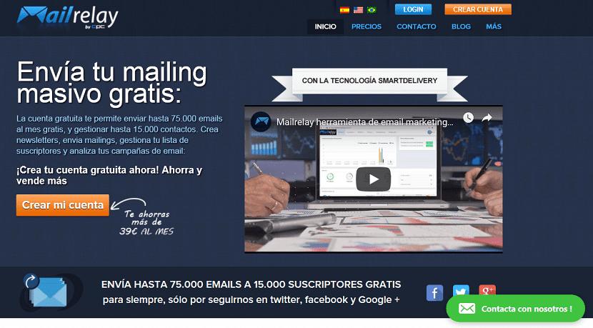 página principal de la herramienta mailrelay y sus ventajas